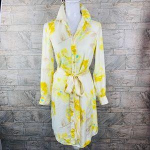 Liz Claiborne Silk Watercolor Floral Shirt Dress